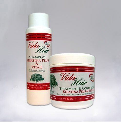 Vida Hair Keratin Shampoo 16oz + Treatment 16oz with Vita E (Combo Set) by Vida Hair. $15.99. Vida Hair Keratin Treatment with Vita E 16oz. Vida Hair Keratin Shampoo with Vita E 16oz. Vida Hair Treatment Conditioner Keratina Plus Vita E is a powerful capillary conditioner that contains ingredients such as Keratin, which is responsible of protecting the insides of the hair and helps rebuilt damage caused by chemical processes. Also contains Vitamin E that helps a...