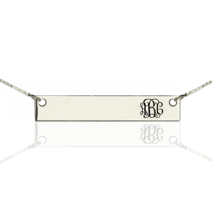 Customized Monogram Bar Necklace Charm Name Bar Necklace Sterling Silver Bar Jewelry