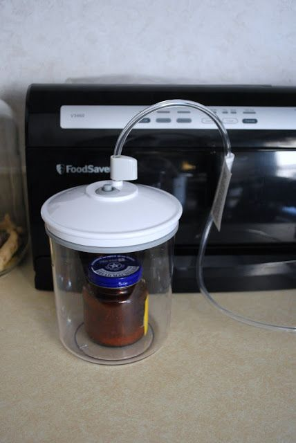 Using a Food-Saver to vacuum seal almost any jar in your kitchen.