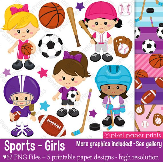 Sport Girls - Clip art and Digital Paper Set - Sports clipart