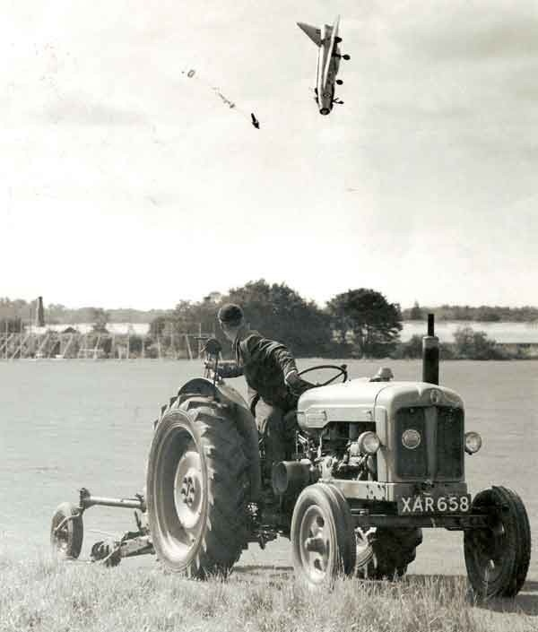 Unbelievable shot of pilot ejecting from a BAC Lightning aircraft. Horrific but mixed with a scene of everyday farming idyll.