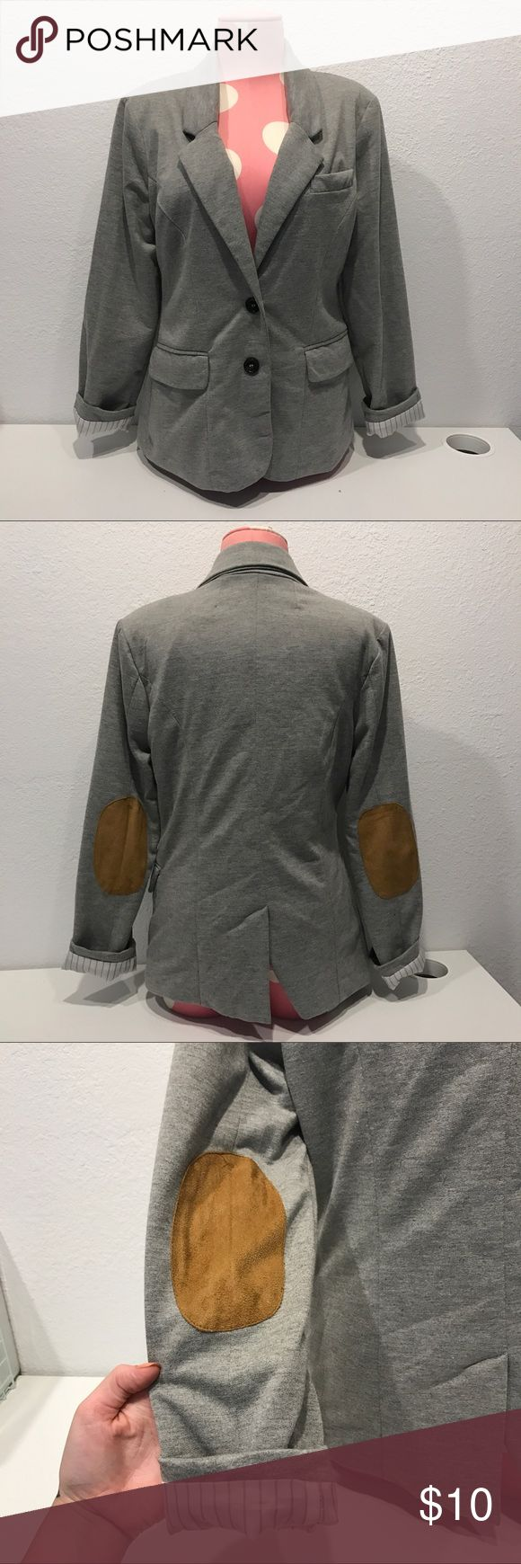 Cute blazer Very cute grey blazer with brown elbow patches. In good condition aside from a small bit unraveling on the inside Seam. Doesn't effect it, just wanted to disclose. Jackets & Coats Blazers