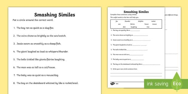 Ks1 Smashing Similes Differentiated Worksheet Simile Writing Similes Mentor Texts Similes worksheets for kids