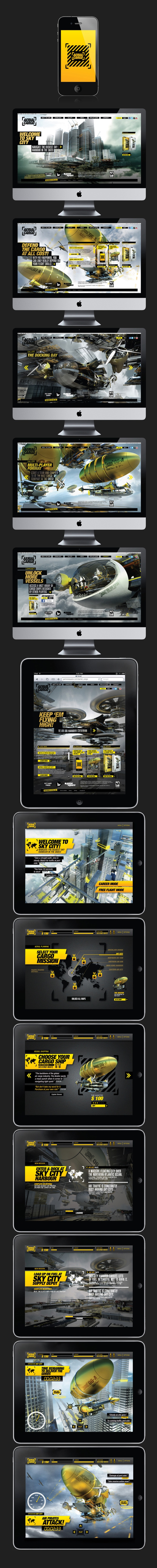 Aerial Cargo  -  Aerial Cargo is a limited release game that depicts an alternate world of cargo shipping, in the air! Take to the skies and pilot your very own cargo ship, navigate the busy air space at Sky City, defend against air pirates and get the goods delivered on time  -  by Leong Huang Zi, via Behance