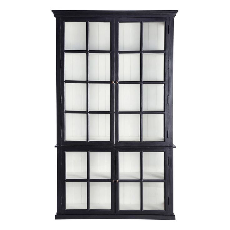 Libreria nera in mango L 135 cm Descartes | Maisons du Monde Black timber display cabinet