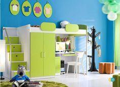 Hochbett Geko Grün Etagenbett Kinderbett Multifunktionsbett Kinderzimmer Set