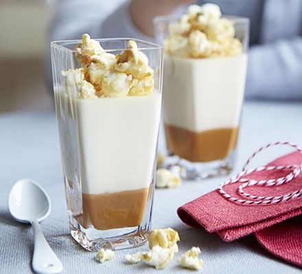 Sweet and salty, this decadent dessert is served in individual pots, with a caramel puddle at the base and a creamy panna cotta topping