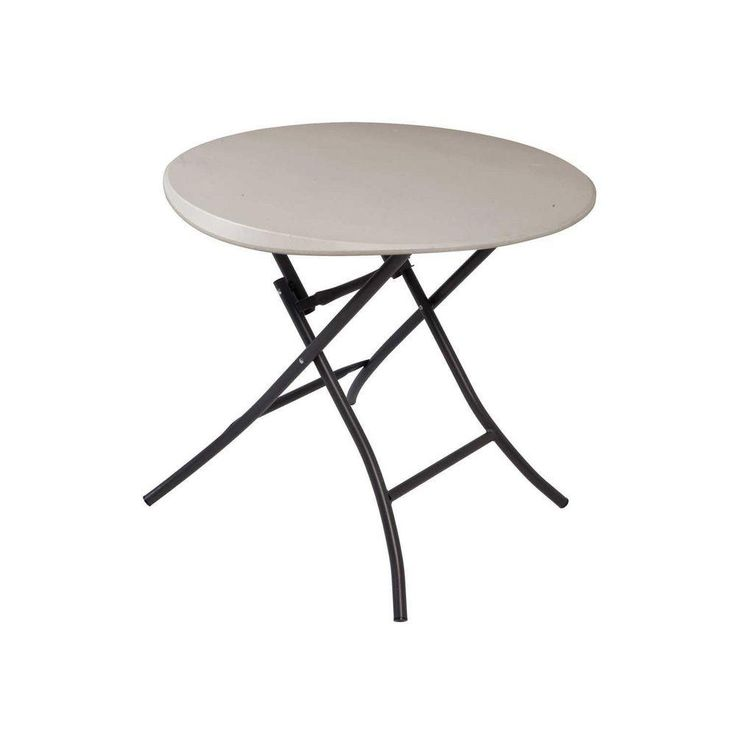 Lifetime 33 in. Round Folding Table in Putty-80230 at The Home Depot