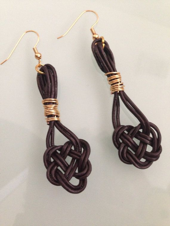 Leather Celtic Knot Earrings Celtic Love by goldenhandscreations
