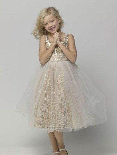 Gold Flower Girl's Dresses Straps Sequins Cheap Tulle Tea Length Pageant Dress for Girl Children Baby Gowns For Wedding Party