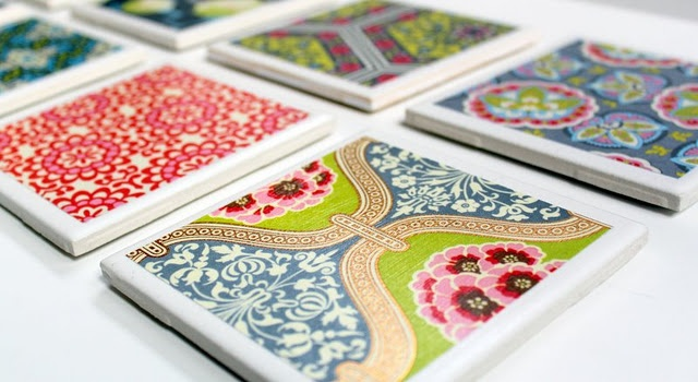 Make your own coasters! Love this idea!