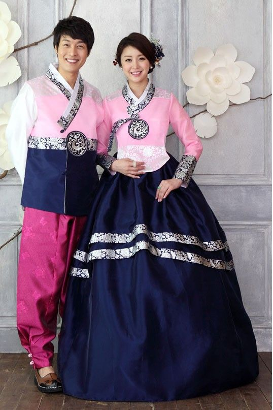 [MIN6]Princess Custom Made Navy Korean Hanbok Dress With Pink Patterned Jacket