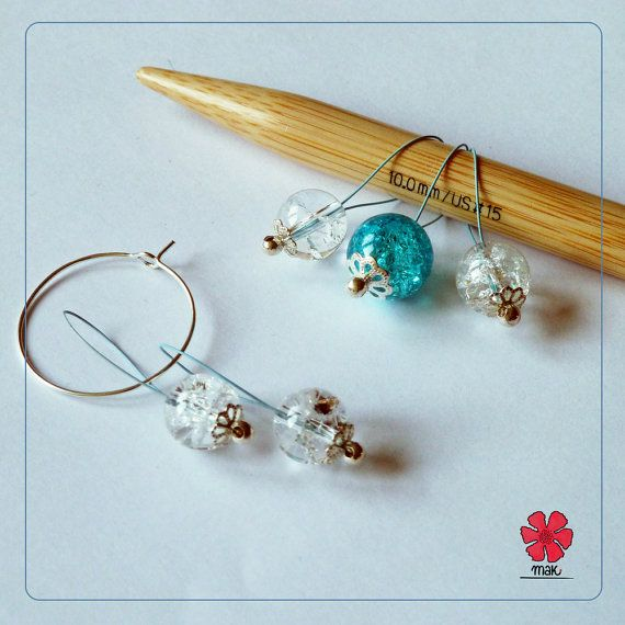NEW summer 2014 collection ~ MAK- Kaleidoscopes handmade light snag-free stitch markers gift - set of five (4+1) with silver-plated holder by Cathliin from prawelewe. Published in Seven Rainbows.