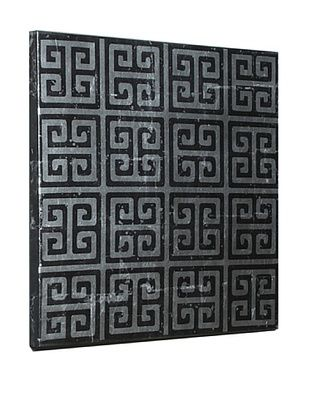 80% OFF Geometric Canvas with Silver Leaf Detail, Black/Silver, 28
