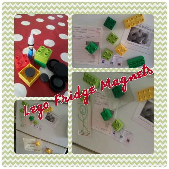 Lego Fridge Magnets!!! All you need is a few bricks, superglue and old magnets...simple funky fridge fun:)