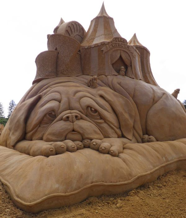 Flea circus on the back of a dog on a pillow ... Sand art sculpture