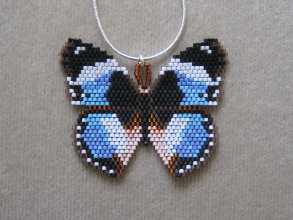 African Butterfly Beaded Pendant & 18 Inch Sterling Silver Chain