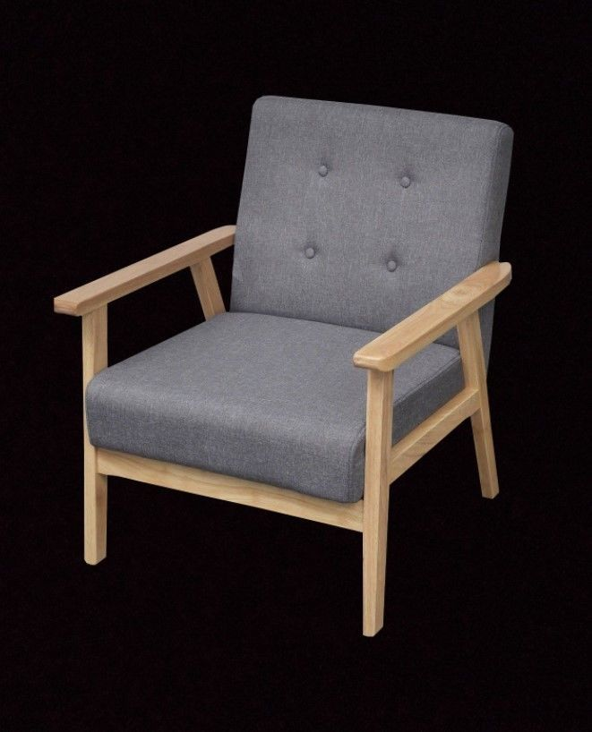 Danish Grey Armchair Retro Lounge Chair Mid Century Furniture Button Accent  Seat