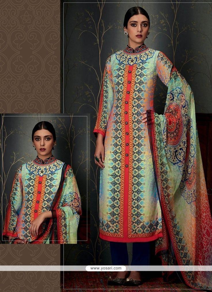 Nice Print Work Pashmina Designer Straight Salwar Suit Model: YOS7967