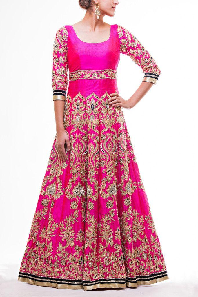 Hot Pink Floor Length Bridal Anarkali – Wellgroomed Designs