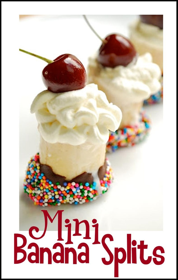Mini Banana Splits - Picture Only Banana dipped in chocolate and sprinkles, whipped cream and a cherry on top.