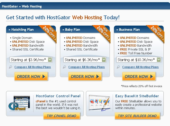 Unlimited Web Hosting  Web Hosting made EASY and AFFORDABLE!        * Unlimited Disk Space      * Unlimited Bandwidth      * Free SiteBuilder (Try Demo)      * Easy Control Panel (Try Demo)      * 1-Click Script Installs        * 4,500 Free Website Templates      * 99.9% Uptime Guarantee      * 45 Day Money Back Guarantee      * 24/7/365 Technical Support      * $100 Google AdWords Offer