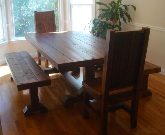 Rustic Trestle Table Set W 2 Benches And Chairs Reclaimed Wood