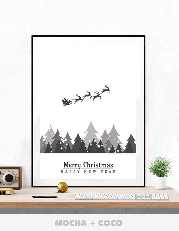 Snow Santa Claus Poster, New Year Eve Wall Art, Christmas Wall Decor, Kids Room, Printable Mocha + Coco, INSTANT FILE DOWNLOAD