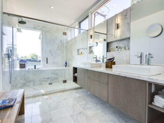 Inspirational Ablagefl che im Badezimmer Einbau regalen Wand Optik Marmor Fliesen