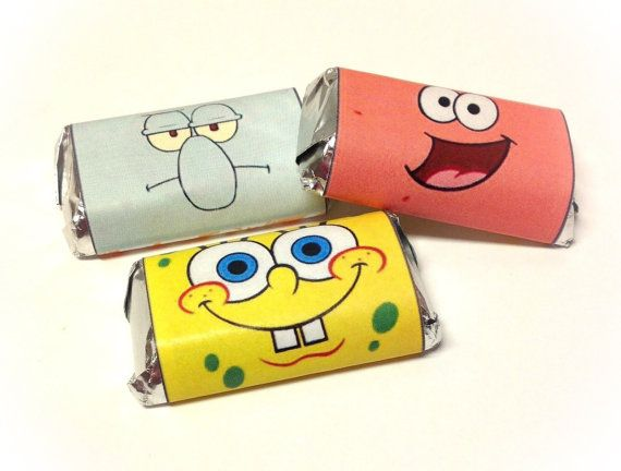 50 Sponge Bob Personalized Hershey's Mini Candy Bar Wrappers Party Favors on Etsy, $10.87 AUD