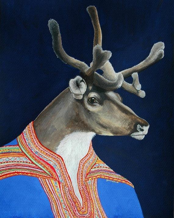 "Sami Reindeer - Original Gouache Painting 11"" x 14"". $600.00, via Etsy."