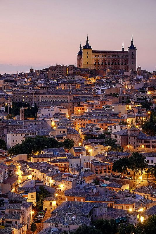 Evening lights in Alcázar of Toledo, Spain