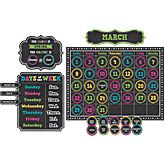 Chalkboard Brights Calendar Bulletin Board Display Set