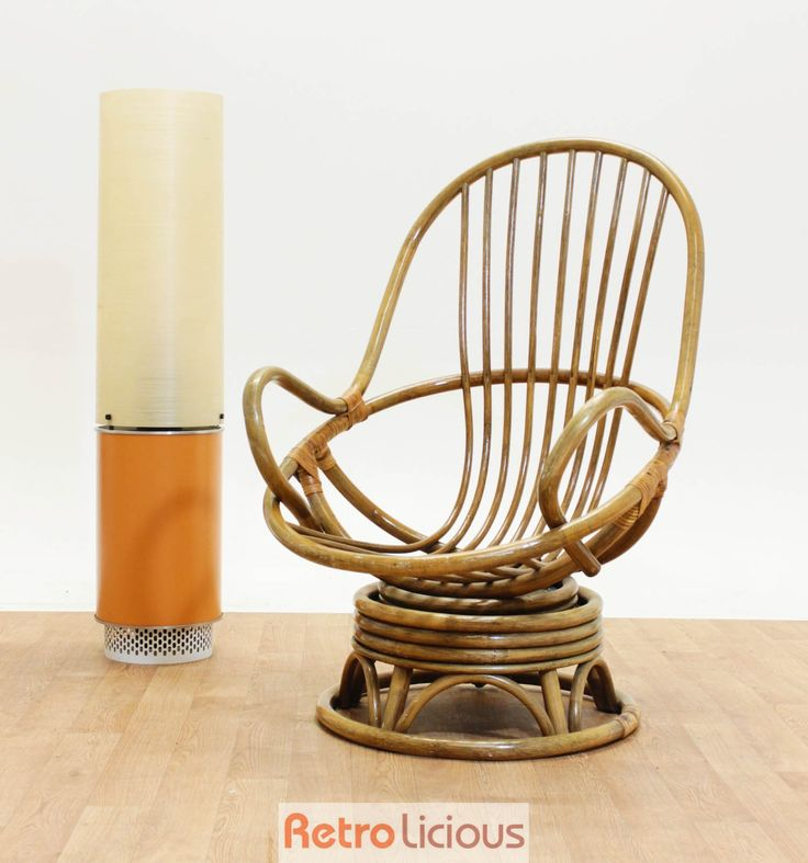 Retro Wicker Cane Egg Swivel Rocking Chair Mid Century 95
