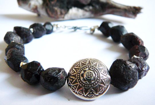 Go For It - Bracelet / Garnet Nuggets and Karen Hill Tribe Silver Sun Unisex by BatyaHavDesign, $89.00 USD