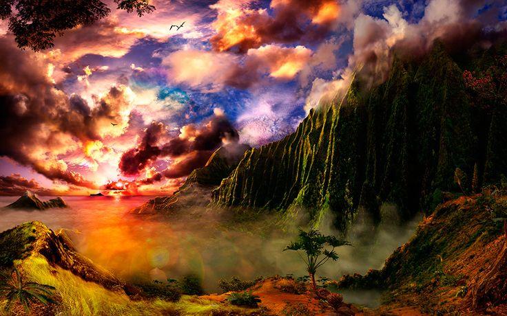 Nu'uanu Caldera Hidden In The Morning Mist / Satoshi Matsuyama  #Satoshi Matsuyama #Hawaii #art #Landscape