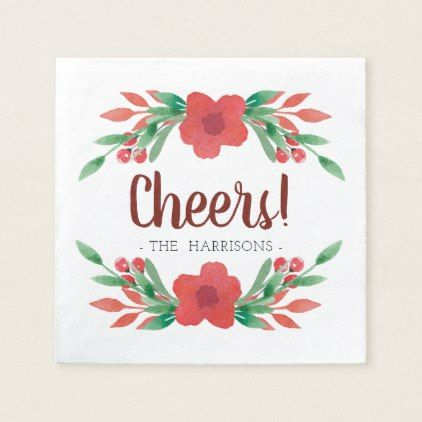 Christmas Floral Cheers Personalized Napkins - floral style flower flowers stylish diy personalize