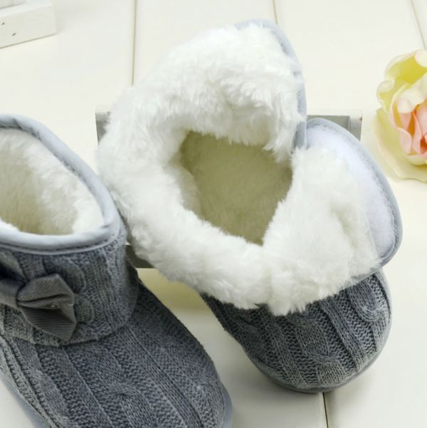Toddler Knit Bowknot Faux Fleece Snow boots