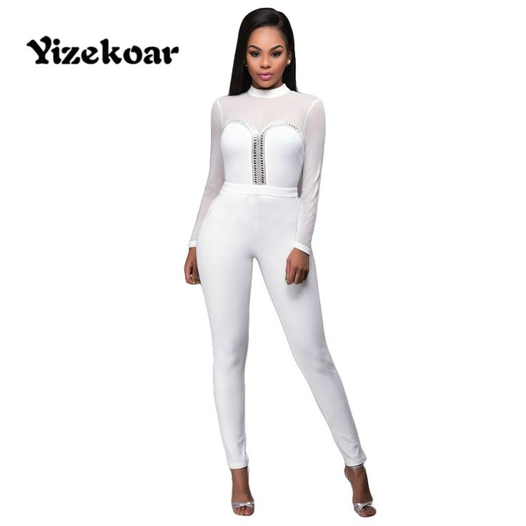 Yizekoar 2017 Women New Sexy See Through Mesh Backless Rompers Black White long Sleeve jumpsuit combinaison femme OS1030 #Affiliate