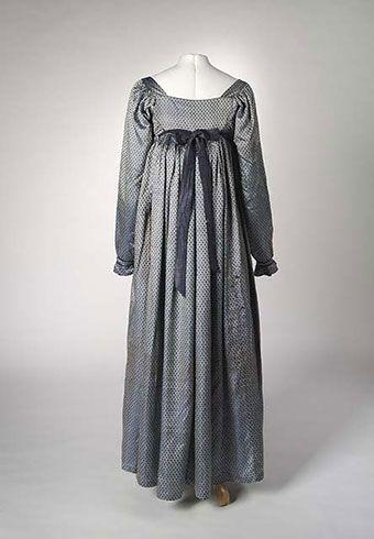 One-piece full length blue silk empire-line dress, 1810–1813. Springfield-Faithfull family collection, National Museum of Australia. Photos: Dragi Markovic.