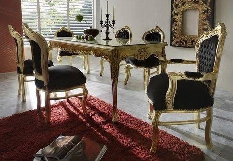 Casa Padrino Barock Esszimmer Set Schwarz/Gold - Esstisch + 6 Stühle - Möbel Antik Stil Esszimmer Sets