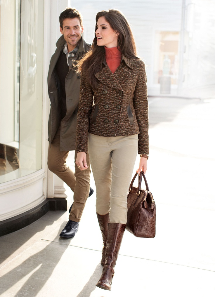 #FW12 Tweed #Jacket over turtle-neck, with Jodhpur Riding Pants & Boots