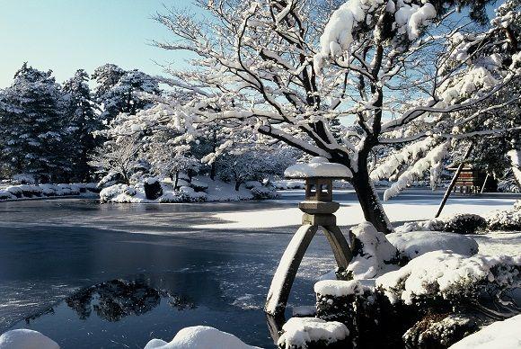 兼六園、庭園、冬景色