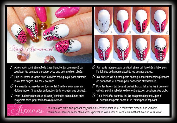 Nails Arc-en-ciel: Tuto nail art Corset Barbie