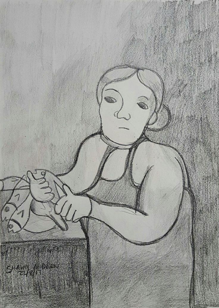The fishmonger - Lumocolor crayon pencil and lead pencil drawing on paper - 22/8/17 - #ShawnAndrewArtist  #Art  #Drawing  #TheFishmonger  #ShawnAndrew_Artist #Arte #Arto #Ars #Artă #Kuns #Kunst #Konst #Taide #Umění #Művészet