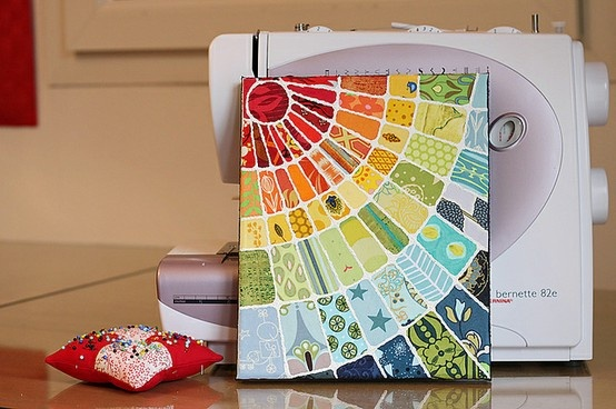 Rainbow of scrap paper on canvas - What a great idea that was executed excellently!