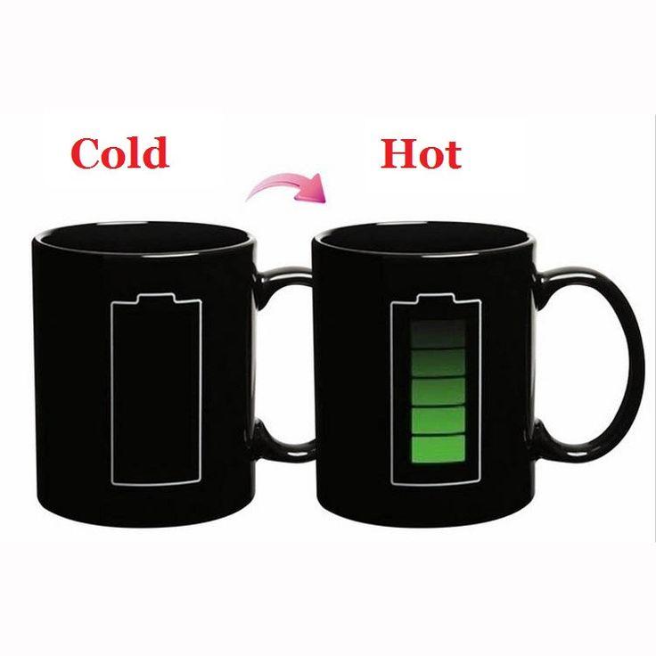 Creative Magic Battery Mugs Heating Color Change Ceramic Coffee Mugs