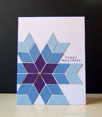 Geometric Snowflake Card by Cristina Kowalczyk for Papertrey Ink (September 2012): Ink September, Moxi Fab, Holidays Card, Geometric Snowflakes, Blue Diamonds, Snowflakes Card, Papertrey Ink, Chevron Card, Christmas Card Geometric