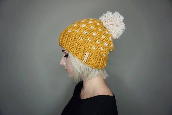 La gorrita tejida de la Luna con pom de lana - elija sus colores | Charlie & Luna Co., Unisex, sombrero flexible, Pom gorrita tejida, sombrero, Toque, punto