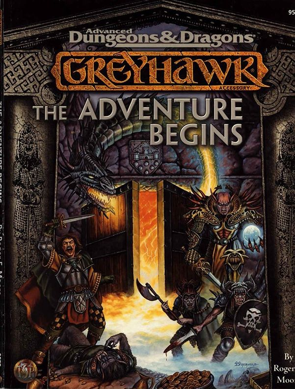 Greyhawk: The Adventure Begins (2e) - Greyhawk | Book cover and interior art for Advanced Dungeons and Dragons 2.0 - Advanced Dungeons & Dragons, D&D, DND, AD&D, ADND, 2nd Edition, 2nd Ed., 2.0, 2E, OSRIC, OSR, d20, fantasy, Roleplaying Game, Role Playing Game, RPG, Wizards of the Coast, WotC, TSR Inc. | Create your own roleplaying game books w/ RPG Bard: www.rpgbard.com | Not Trusty Sword art: click artwork for source